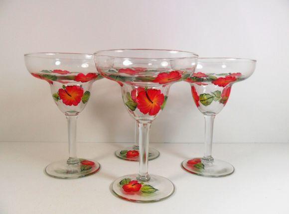 Hand Painted Funny Margarita Glasses