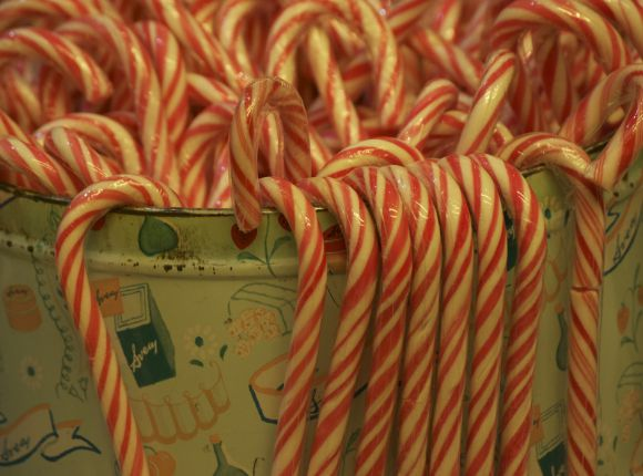 Home-Made Candy Canes - Mint White and Red Stripes