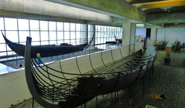 Rowing at the Roskilde Viking Ship Museum, Denmark