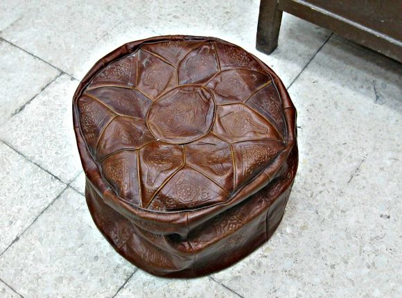 Soft Leather Luxe Pouf