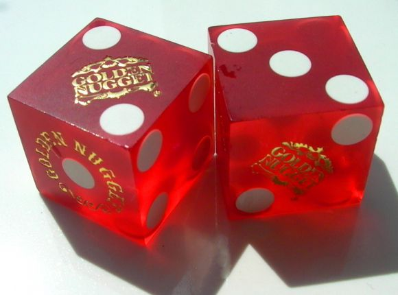 "Collectible ""Golden Nugget"" Casino Chip and Dice"
