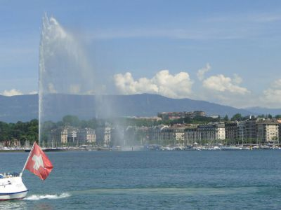 View of Lake Geneva and Geneva Water Fountain